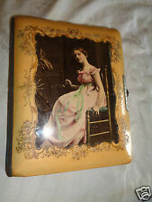 ANTIQUE VICTORIAN LADY SPINNING WHEEL PORTRAIT EMB FLORAL CELLULOID PHOTO ALBUM