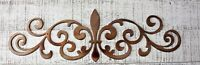 "Ornamental Fleur de Lis Scroll Copper/Bronze Metal Accent 22"" wide"