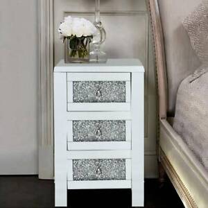 Glass Bedroom Table Mirrored Furniture Chest of Drawer Bedside Cabinet Modern