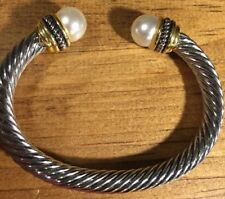 Beautiful Stainless Steel Cuff Design Bracelet With Faux Pearl & Gold Accents