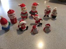 LOT VINTAGE SALT & PEPPER SHAKERS BELLS FIGURES CHRISTMAS MRS SANTA CLAUS 10 PC