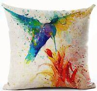"Home Cotton Linen Throw Pillow Case Ink Hummingbird Panting 18""X18"""