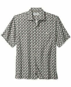 Tommy Bahama Mens Shirt Black US 2XL Poolside Geo Trellis Button Down $125 143