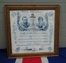 ANTIQUE VINTAGE encadrée Rule Brittania commémorative soie King George V