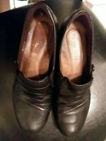 Rockport Cobb Hill Adele Slip On Leather Dress Shoes Heels Size 8M Black