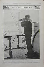 1903 BOER WAR ERA PRINT ~ LOOK-OUT ~ WATCHING FOR SIGNAL FROM THE FLAG-SHIP