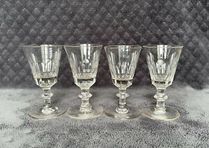 19th Century Hand Blown Petal Cup Glass Crystal Cordial Stemware Glasses