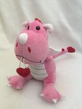 Animal Adventure Pink Red Heart Dino Dragon Baby Plush Stuffed Animal Dinosaur