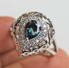 18K White Gold Filled -MYSTICAL Rainbow Oval Topaz Hollow Vine Lady Ring Size 7