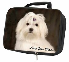 More details for maltese dog 'love you dad' black insulated school lunch box bag, dad-77lbb