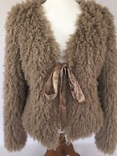 e96aebf1e2752 Darling MAX STUDIO Size M NWOT Taupe Faux Sheep Fur Jacket With Tie Closure