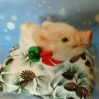 Original Cute Needle Felted Christmas Pig Piggy Piglet by Artist R J Andreae