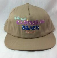Disney's Caribbean Beach Resort Hat Adjustable Tan w Pastels Vintage USA