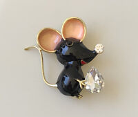 Adorable Vintage  Mouse  Brooch pin gold tone metal