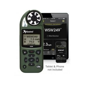 Kestrel 5500 Weather Meter w/ LiNK - Bluetooth, Vane Mount & Case - OD GREEN