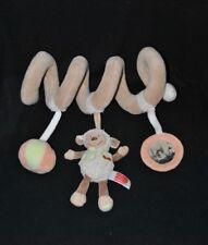 Peluche doudou spirale mouton CORA INFLUX balle grelot miroir beige brun TTBE