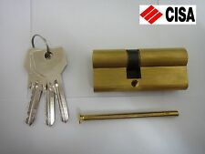 CISA EURO PROFILE DOUBLE CYLINDER 30/40 BRASS WITH 3 KEYS - NEW