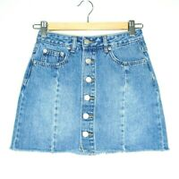 Glassons Womens Blue Denim Button Up High Waisted Mini Skirt Size 6 Skater