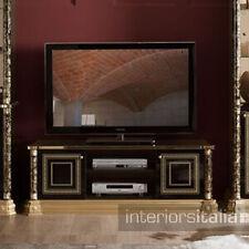 Venus Versace Style Luxury Italian 2 Door TV Unit - Black & Gold
