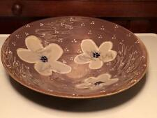 Signed Cartier studio pottery large floral design bowl