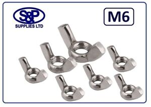 M6 (6MM - 6mm) STAINLESS STEEL WING NUT FASTENER ST/STEEL ST/ST A2/304 6MM - M6