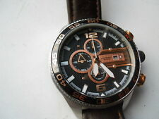 Fossil chronograph men brown leather band.quartz,Analog & battery watch.Ch-2559