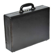 Mens leather look attache case traditional black briefcase combination lock bag