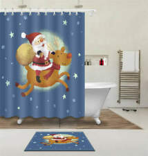 Santa Claus Waterproof Bathroom Polyester Shower Curtain Liner Water Resistant