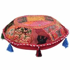 """Patchwork Round 18"""" Moroccan Bohemian Floor Pouf Cushion Cover Handmade Pouf"""