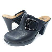 Sofft Women's Mule Bootie Black Pebbled Leather Buckle Strap Clogs Sz 6.5M