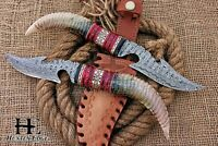 HUNTEX Custom Handmade Damascus Steel 12 Inch Long FullTang Hunting Gut HK Knife