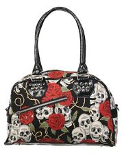 Banned Skulls & Roses Gothic Punk Vintage 50s Pinup Top-Handle Shoulder Handbag