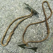 ANTIQUE PAIR BRONZE FISHING HARPOON DART BARBS SPEARS w/ OLD ROPE