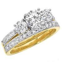 Damen Ring Zirkonia weiss 750er Gold 18K vergoldet Gr. wählbar gelbgold R1095