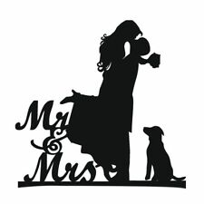Cake Topper with Dog Pet ,Mr & Mrs Bride and Groom Silhouette funny wedding A5S9