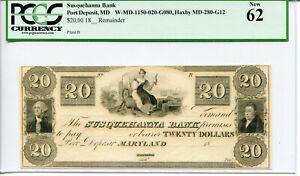 $20 Susquehanna Bank Port Deposit MD Obselete PCGS New 62 W-MD-1150-020-G080
