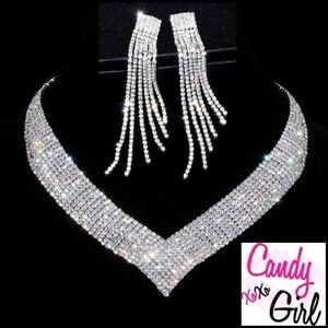 Crystal Diamante Luxury CZ Occasion Necklace And Tassel Earrings Jewellery Set
