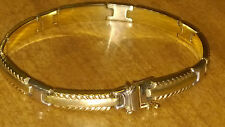 """Aurafin 14k Yellow White Gold Bracelet 9.2 grams 7.25"""" Long 6mm Stamped Tested"""