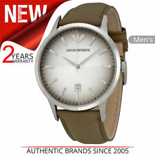 Emporio Armani Classic Mens Watch│Textured Degrade Dial│Taupe Leather Strap│2470