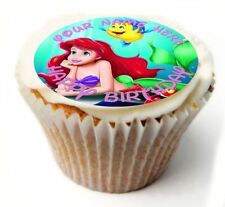 Ariel Mermaid Birthday Cupcake Toppers x20 Rice Paper or Icing, Personal. 838