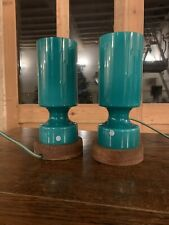 Swedish 'ELME' Table Lamps, 1960's Retro Scandanavian Lighting, Hand Blown Glass