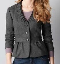 ANN TAYLOR Loft Collar Ruffle Wool Blend Blazer Jacket Size 10