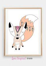 "Baby Nursery Room Flower Girl Wall Art  8""x10"" Fox Print Room Decor Boys Girls"