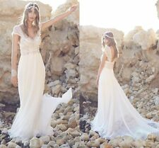 Hot Wedding Dress Bead White/Ivory Beach Bridal Gown Custom Made Size 2 4 6 8 ++
