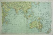 1912 large antique map ~ océan indien & Australasie ~ ports et connexions