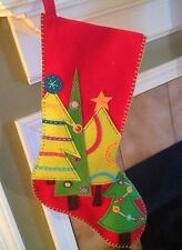 Festive Christmas Tree Stocking Handmade New! I Will Embroider Name On It.