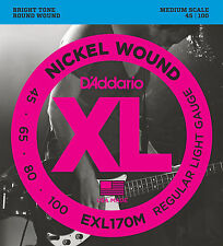 D'Addario EXL170M NICKEL BASS STRINGS, MEDIUM SCALE, REGULAR 4's - 45-100