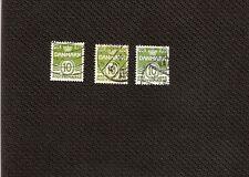 N°006- 3 timbres rares Danemark 10 Ore vert  -fonds lignés -oblitérés-bon état