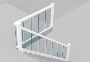 Full Glass Staircase Banister Set White Primed upto 3.6m with Landing up to 1.8m