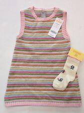 NWT Gymboree Little Panda 12-18 Months Stripe Sweater Jumper Dress & Bear Socks
